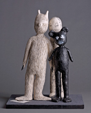 """""""Friends,"""" a sculpture in Stern's <em> The Talking Cure </em>, is accompanied by a monologue by Janet Grillo '80."""