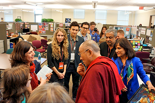 MOOC student Balesh Jindal of New Delhi, India meets the Dalai Lama at an observance of World Compassion Day at Stanford University. As the winner of the Day of Compassion contest, Jindal was flown to California for the event, and Stanford's Center for Compassion and Altruism Research and Education donated $1,000 to a charitable organization of her choice.