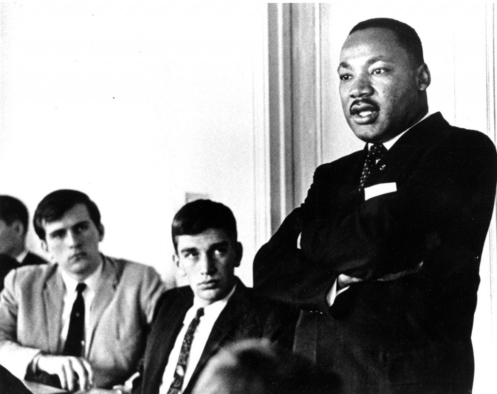 Dr. King at the College of Social Studies luncheon, October 21, 1963. Photograph by Rudolph Vetter. Courtesy Special Collections & Archives.