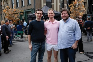 Craig Thomas, Neil Patrick Harris as Barney, and Carter Bays on the set for the last episode of How I Met Your Mother.