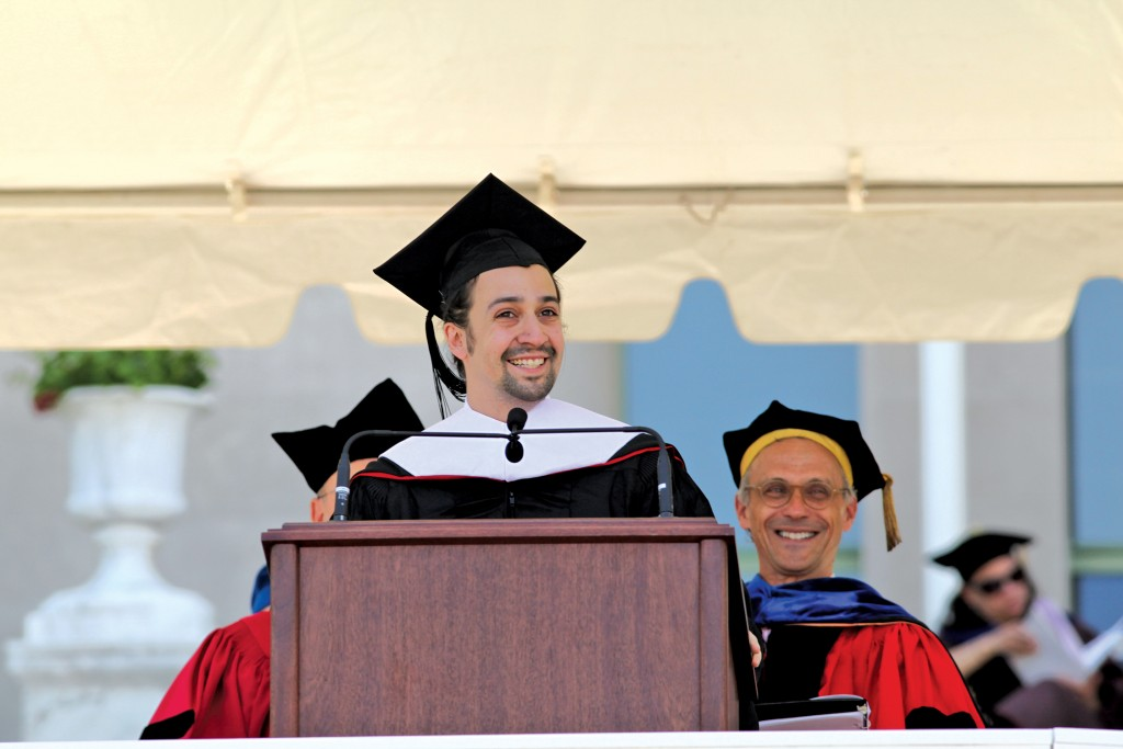 The 183rd Commencement Ceremony took place on Andrus Field, with Honorary Doctorate of Humane Letters recipient Lin-Manuel Miranda '02 delivering the Commencement address on May 24. (Photo by Rick Ciaburri)