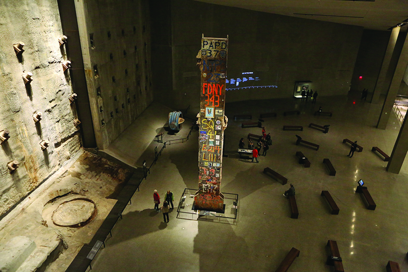 1. The 36-foot-tall Last Column was a symbol of resilience to the thousands of recovery workers who spent months excavating the World Trade Center site after 9/11. Part of the core structure of the South Tower, the 58-ton beam was covered with words and numbers, pictures, and tributes by workers during the recovery effort. Photo: Robert Adam Mayer.