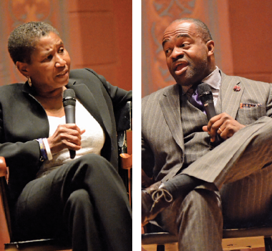 The 2015 Dwight L. Greene Symposium featured Michele Roberts '77 and DeMaurice Smith, both executive directors of professional sports unions, in a wide-ranging conversation exploring racism, personal and franchise responsibilities, and financial independence, as well as other legal and moral issues in representing the unions and players. Photo: John Van Vlack.