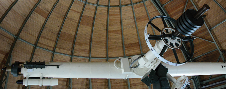 Wesleyan's iconic observatory dome was built to house the Van Vleck Refractor, used in research until the early 1990s. Photo by John Van Vlack.