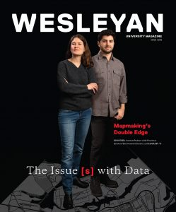 Wesleyan magazine cover featuring Professor Kim Diver and her student