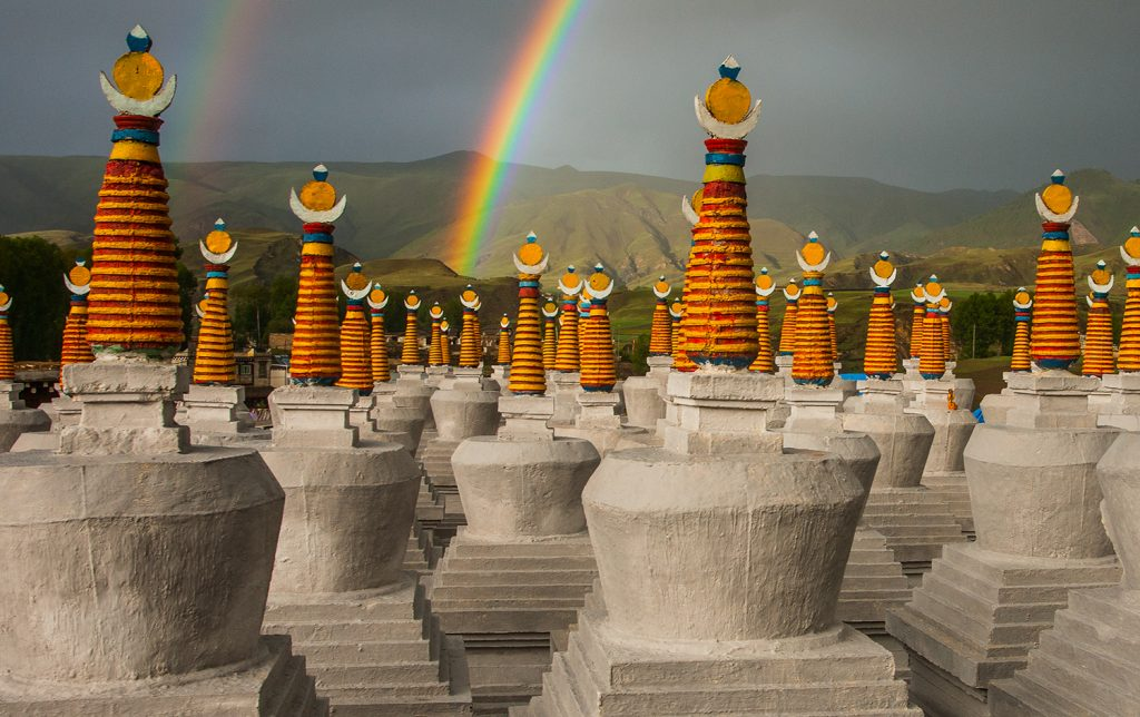 Yamashita photo - rainbow and stupas