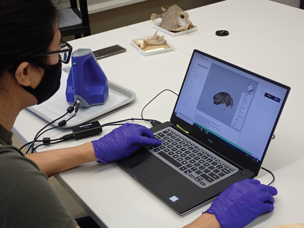 Andy Tan uses a 3D scanner